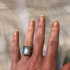 Sterling Silver Rainbow Moonstone Ring.